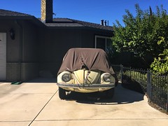 Brown Derby (misterbigidea) Tags: explore mundane streetview suburban urban bluesky yard house facesinplaces watchingme yellow afternoon neighborhood driveway parked brown beetle volkswagen bug vw classic auto car undercover covered