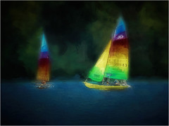 Oh, to be sailing. . . (boriches) Tags: sailboats fellowslake ozarks missouri painterly