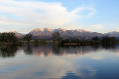 Stillwaters (Patricia Henschen) Tags: clouds lake frantzlake frantz swa statewildlifearea sawatch range mountains mountain salida colorado spring trees reflection reflections coloradoparkswildlife sunrise alpenglow