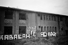XABALAH FE AS (esmeelily) Tags: 35mm film analog lomo lomography grain ilford black white is dead urbex derelict abandoned building raf upwood graffiti spraypaint street art vandalism tag tagging olympus trip af 50