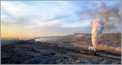 Smoking Coal (Welsh Gold) Tags: js8081 loaded coal train late evening sunshine sandaoling open cast pit xinjaing province china