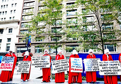A Modern Handmaid's Tale (kirstiecat) Tags: scotus kavanaugh kavanope scotusdayofaction chicago women aca roevswade reproductiverights prochoice red signs protest demonstration democracy politics liberal impeachtrump resist resistfascism federalplaza margaretatwood handmaidstale redrobes america illinois