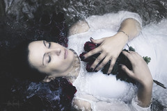 Tomorrow exists even though I may not exist in it (RuiFAFerreira) Tags: beauty white water canon conceptual roses dark exterior efs24mmf28stm female light mood ambience nature ornaments portugal river red model hair hands retrato portrait naturallight color