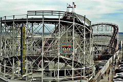 Cyclone: 90 Years (Robert S. Photography) Tags: cyclone coneyisland rollercoaster street below beach sign people summer newyork brooklyn sony color dscwx150 iso100 august 2018