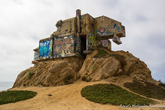 """The """"Devil's Slide Bunker,"""" a former military watch station dating back to World War II. Now, its remnants teeter on a rock! (adventurousness) Tags: weird pacific coast highway devils slidegraffiti 1 highway1 pacificcoasthighway pacificcoast pacifica california unitedstates us"""