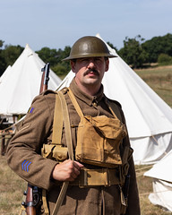 LCpl Everest (Mike South Photography) Tags: 10th essex great war living history group 10thessex regiment firstworldwar first world military army khaki british soldier tommy fighting centenary uniform livinghistory historical reenactment 10thessexregiment worldwarone leeenfield rifle smle helmet webbing equipment camp encampment tents canvas