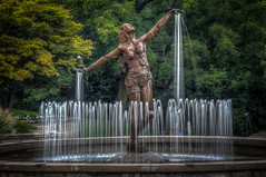 Clifton Fountain, Woman Offering Water (donnieking1811) Tags: ohio cincinnati cliftonneighborhood womanofferingwater fountain water woman statue sculpture bronze park outdoors trees hdr canon 60d lightroom photomatixpro