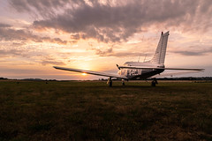 Grounded (NVOXVII) Tags: plane aircraft piper airfield airport aviation sunset arty dusk lowlight canon bembridge isleofwight hampshire