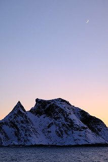 Crescent moon and arctic mountain #norway #norge #polar
