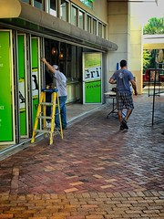 Walk by Shooting-Pedestrian  12 (LarryJay99 ) Tags: iphone7plus iphone7 constructionsite avocadogrill palmbeachgardens colir man men guy guys dude male studly manly dudes handsome bluecolor urban people worksight workmen pathway mall downtownatthegardens resturant jeans blue bluejeans musculararms caps