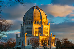 Bahai Temple (dougbank) Tags: outdoors outside buildings building temple churches sunset sunlight bluesky light clouds aurorahdr illinois