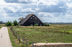 Old thatched roof farm and attached barn with half hipped tile roof (1900). (Eduard van Bergen) Tags: water river biesbosch brabant strand beach blue green holland dutch netherlands niederlande pays bas open shore dikes land field trees wind vista landscape treeline woods meadow outdoor sky light oever dijken horizon sony ilce alpha werkendam industry cranes clouds windy grass fields sun plant polder eolus tree waterway reed houses road farm barn family farmer life living attic hayloft hipped half tiles antique thatched roof old vintage rural cottage lodge wolfskap ancestors centrale amer geertruidenberg