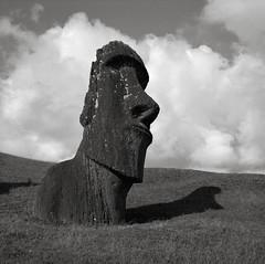 Moai Hina Riru, Easter Island (austin granger) Tags: easterisland rapanui moai hinariru ranoraraku quarry stone carving head clouds archaeology buried time evidence civilization mystery iconic shadow sculpture square film gf670 thorheyerdahl