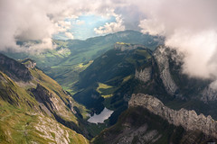 A long way down (Rico the noob) Tags: 2018 rock d850 landscape nature outlook switzerland city outdoor lake dof 2470mmf28 rocks valley trees published urban water tree schweiz forest house 2470mm sky fog clouds mountains stones mountain
