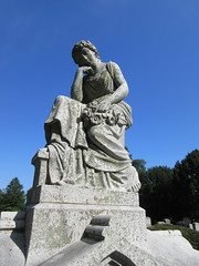 Pensive Lady Mourner Grave Marker 9403 (Brechtbug) Tags: pensive lady mourner grave marker granite greenwood cemetery statue gown graveyard tomb tombstone crypt mausoleums angels standing posed green wood brooklyn new york city 2018 nyc 09012018 books reading album folio tome stone