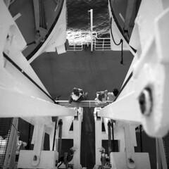 The ferry - Somewhere in Tyrrhenian Sea - August 2018 (cava961) Tags: ferry tyrrhenian sea analogue analogico monochrome monocromo bianconero bw 6x6