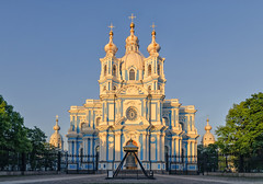 Smolny cathedral under sunset light. (g_reg_walker) Tags: city center cityscape historical perspective view evening sunset sunny scenery russia saint petersburg season spring travel excursion stroll tourism tourist walk architecture building cathedral smolny church light religion believer cross dome orthodox orthodoxy prayer sky blue square