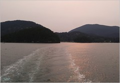 Bowen Island Smoke Sunset BC18h39 LG (CanadaGood) Tags: canada bc britishcolumbia bowenisland bcferries ferry sea howesound smoke afternoon shore canadagood 2018 thisdecade color colour cameraphone island