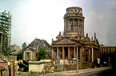 The French Cathedral (HJ in Ches) Tags: berlin ostberlin church french protestant calvinist huguenot französischerdom bombdamage ruin ruins eastgermany gdr ddr architecture gendarmenmarkt konzerthaus cathedral eastberlin statue lion