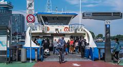 2018 - Amsterdam - Het IJ Ferry (Ted's photos - For Me & You) Tags: 2018 amsterdam cropped nikon nikond750 nikonfx tedmcgrath tedsphotos vignetting people peopleandpaths pathsandpeople bike bicycle ferry hetij hetijferry boat