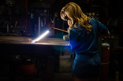 Kim Redemption-20 (sammycj2a) Tags: overalls coveralls blonde blueeyes bridgeport welding weldingtable scar gorgeous hot nikonphotography pinup machinist welder girl denim posing
