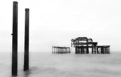 Physical Ghosts (The Crewe Chronicler) Tags: westpier brighton brightonpier pier sea seaside derelict decay seafront seashore beach monochrome mono blackandwhite canon canon7dmarkii