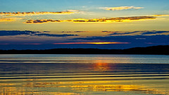 Approaching Dusk (Bob's Digital Eye) Tags: bobsdigitaleye canon canonefs1855mmf3556isll clouds flicker flickr glow h2o laquintaessenza lake lakesunsets lakescape reflection sep2018 sky skyline skyscape sun sunset sunsetsoverwater t3i water