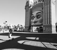 Morning at the park (yajunwang1) Tags: lunapark clownface shadows bw