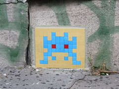 Space Invader PA_064 (tofz4u) Tags: 75016 paris streetart artderue invader spaceinvader spaceinvaders mosaïque mosaic tile pa64 pa064 beige bleu blue reactivated restauré spacerescueintl reactivationteam