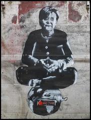 Essen - Limbecker Straße (abudulla.saheem) Tags: graffito graffiti art streetart urbanart mrsmerkel fraumerkel limbeckerstrase essen ruhrpott ruhrarea ruhrgebiet nrw germany deutschland panasonic lumix dmctz31 abudullasaheem