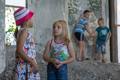 Village children in an abandoned church. (Oleg.A) Tags: ruined saintnicolaschurch building cathedral church old brick outdoor rural evening dome countryside blue orange russia penzaregion summer orthodox style architecture exterior design ancient materials staryakutlya catedral outdoors staryykutlya penzenskayaoblast ru