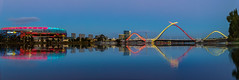 Blue Panorama (Jared Beaney) Tags: canon6d canon australia australian photography photographer travel perth city cityscapes eastperth reflections reflection panorama stadium optusstadium bridge bluehour night light lights