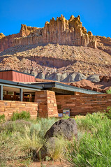 Capitol Reef Visitor Center and The Castle (William Horton Photography) Tags: capitolreefnationalpark thecastle utah utahstateroute24 visitorcenter nationalppark redrocks roickformation sandstone welcomecenter