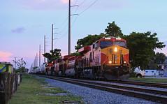 222 rolling into Blue hour (GLC 392) Tags: florida east coast railroad railway train pigs trailers stacks 222 813 805 822 811 ge es44c4 gevo hollywood fl fec fuel tender blue hour sky