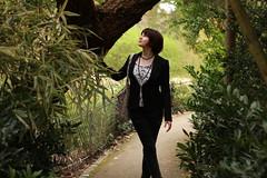 I see you. (Camellia_Baggins) Tags: women femme portrait hair haircut fashion nature trees green hm zara nafnaf printemps été bellesaison redhair lumière light magnolia shooting modèle metz city