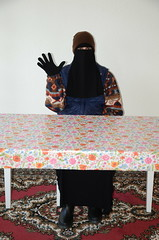 Slave Maid (Warm Clothes Fetish) Tags: slave maid hijab niqab girl sweat fleece fur hat boots apron winter hot warm coat