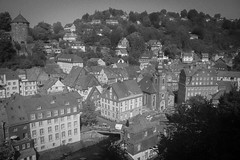 Picture Perfect Monschau (music_man800) Tags: monschau germany deutschland de roadtrip road trip holiday break june 2018 photo view scene scenery landscape vantage point looking down skyline rooftops trees river valley town village vintage rustic timber frame buildings urban old grain black white bw monochrome grayscale grey colourless edit creative photography arty artistic style different sunny day warm canon 700d adobe lightroom outdoors outside light lighting natural castle
