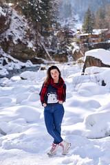 Winter portrait (w0hope) Tags: winter portrait snow girl bear river nature