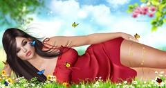 La Caresse du papillon (ℜØSE Siabonne) Tags: skin session hair mesh bento sl butterfly flower