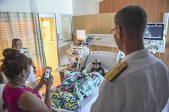 Rear Adm. Yancy Lindsey visits the Children's Hospital of Orange County.