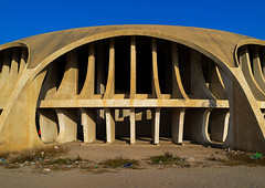 Cine Estudio designed by Botelho Vasconcelos of atelier Boper, Namibe Province, Namibe, Angola (Eric Lafforgue) Tags: abandoned africa angola angola180910 architecture boper buildingexterior builtstructure cineestudio cinema city colonial colourimage concrete day developingcountries exterior facade horizontal movietheater movietheatre namibe namibeprovince nopeople outdoors photography portuguesecolony theatre tourism traditionallyportuguese travel traveldestinations