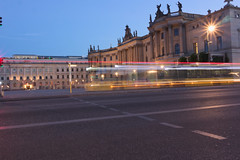 University of Berlin (Notquiteahuman1) Tags: bus university old historic germany berlin capital lights sunstars illumination illuminated street reflection statues architecture yellow streetsigns roof lines bluehour blue urban city