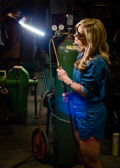 Kim Redemption-18 (sammycj2a) Tags: overalls coveralls blonde blueeyes bridgeport welding weldingtable scar gorgeous hot nikonphotography pinup machinist welder girl denim posing