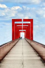 La passerelle // The footbridge (erichudson78) Tags: france iledefrance valdoise cergy axemajeur passerelle footbridge perspective personnes people canonef70200mmf4lisusm canoneos6d architecture ciel sky red rouge pont bridge silhouettes sliderssunday hss