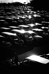 *** (Hitoshi Matsumoto) Tags: monochrome blackandwhite bw bicycle contrast car abstract japan japanese osaka hitoshimatsumoto parking lightandshadow