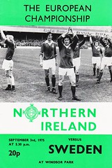 Northern Ireland vs Sweden - 1975 - Cover Page (The Sky Strikers) Tags: northern ireland sweden the european championship windsor park programme 20p