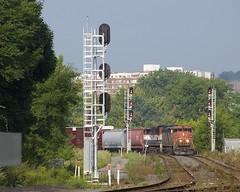 CN 324 (Michael Berry Railfan) Tags: cn canadiannational cn324 cowl cn2418 bcol4601 montreal montrealsub quebec train freighttrain sthenri ge generalelectric dash8 dash840cm