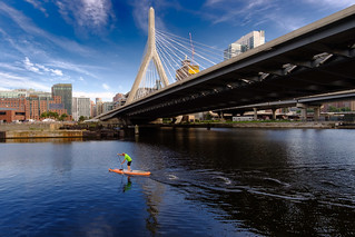 Paddleboarder Under the Zakim Bridge