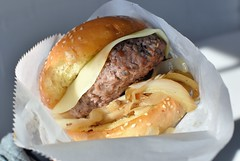 Wild Rice Cheeseburger (jpellgen (@1179_jp)) Tags: mn minnesota midwest usa america nikon nikkor 35mm d7200 august summer statefair minnesotastatefair fair festival carnival 2018 falconheights foodporn food burger cheeseburger meat buns cheese beef wildrice