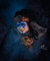 Plane Shifting Art as Senua from Hellblade, shot by SpirosK photography: mourning (SpirosK photography) Tags: cosplay costumeplay senua hellblade senuassacrifice game videogamecharacter videogame skull sad paranoia schizophrenia madness portrait studio photoshoot cosplayphotoshoot composite planeshiftingart mourn mourning crying cry sadness